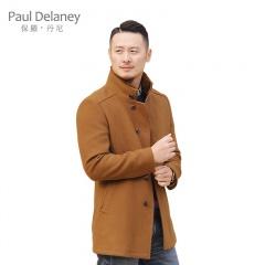 保羅丹尼男士獭兔毛领羊毛大衣