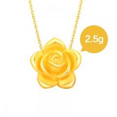 翠绿3D硬金金彩系列玫瑰吊坠2.5克