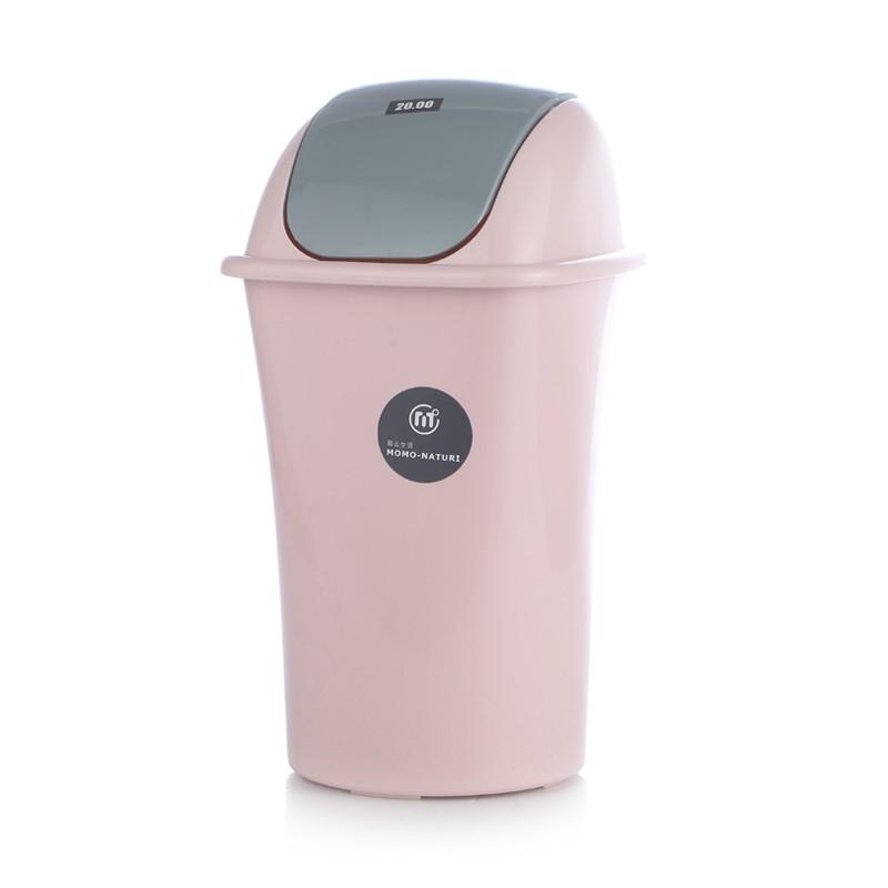 一伍一拾 粉色翻盖垃圾桶