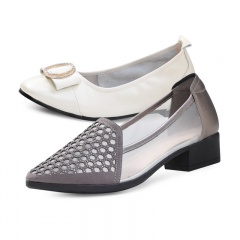 箴美珠彩镶钻镂空清凉牛皮女鞋2双组