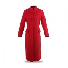 金菊  复古立领超长双面羊毛大衣