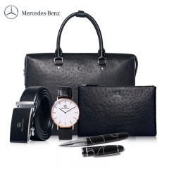 Mercedes-Benz梅赛德斯奔驰商务鸵鸟纹男包组