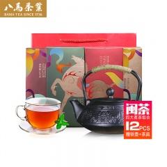 八马茶业闽茶荟萃加赠组(铁观音3盒+正山小种3盒+大红袍3盒+白茶3盒+ 铁壶*1+青瓷茶具*1套)