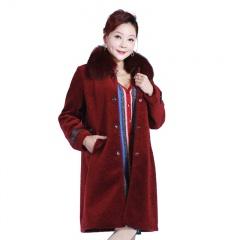 阿伦达女士狐狸毛领羊剪绒皮草大衣