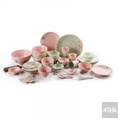 繁花似锦*景德镇红叶49头色釉餐具超值组