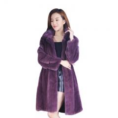 索娜斯丹麦进口白金级走秀款华贵紫长貂大衣