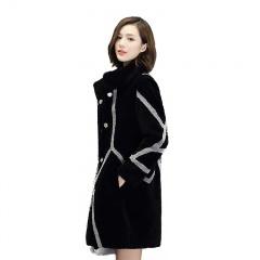 阿伦达时尚撞色设计师款羊剪绒大衣