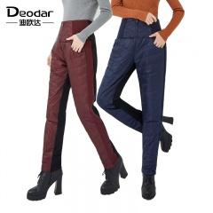 迪欧达时尚高腰弹力白鹅绒女裤