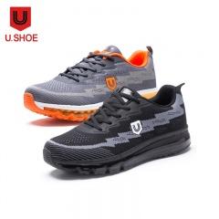 U.Shoe优树全掌飞织气垫运动休闲男鞋