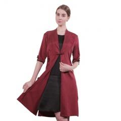 梦丝逸 中国风情真丝刺绣假两件连衣裙