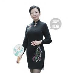 萨佐 100%羊毛旗袍领连衣裙