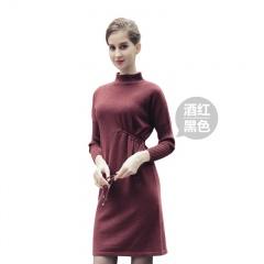 萨佐 超柔牦牛绒抽带设计款连衣裙