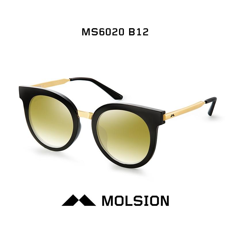 陌森眼镜 太阳镜墨镜男女款ms6020 镜框黑色/金色 镜片金色镜面反光