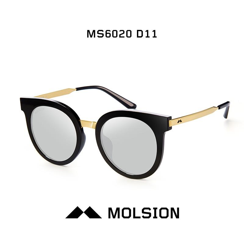 陌森眼镜 太阳镜墨镜男女款ms6020 镜框黑色/金色 镜片白金色 偏光d11