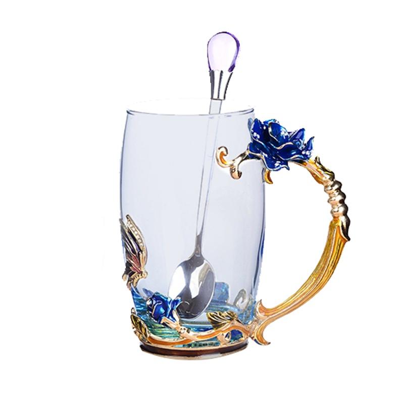 利茸珐琅杯茶杯咖啡杯水杯耐热玻璃杯(多种花色 高杯/矮杯可选) 蓝玫瑰高杯